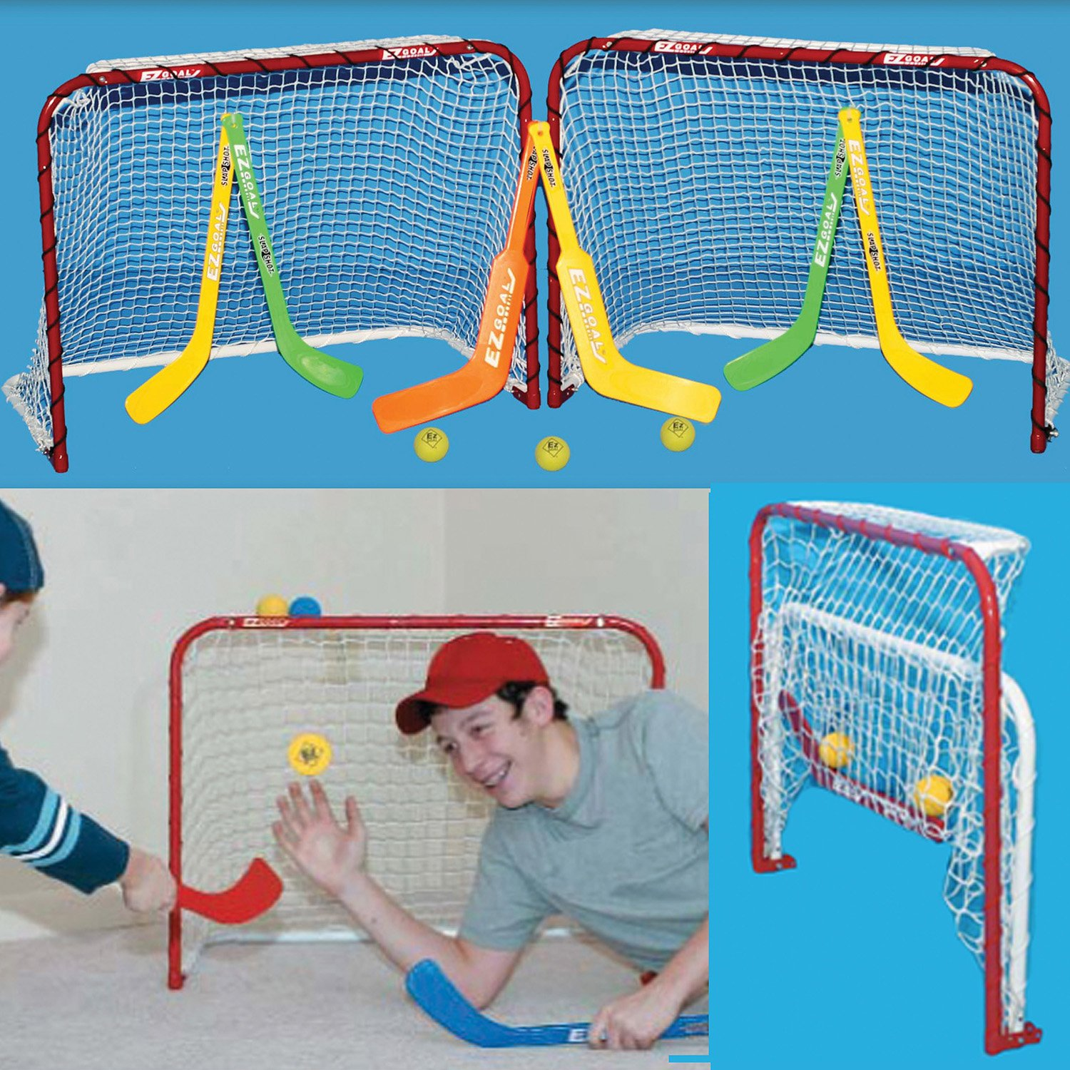 EZGoal Double Mini Folding Goal, Red/White by EZGoal (Image #2)