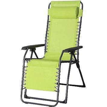 Relaxstuhl Garten Stuhl Colour Metall Gestell Mit Kopfkissen Lime
