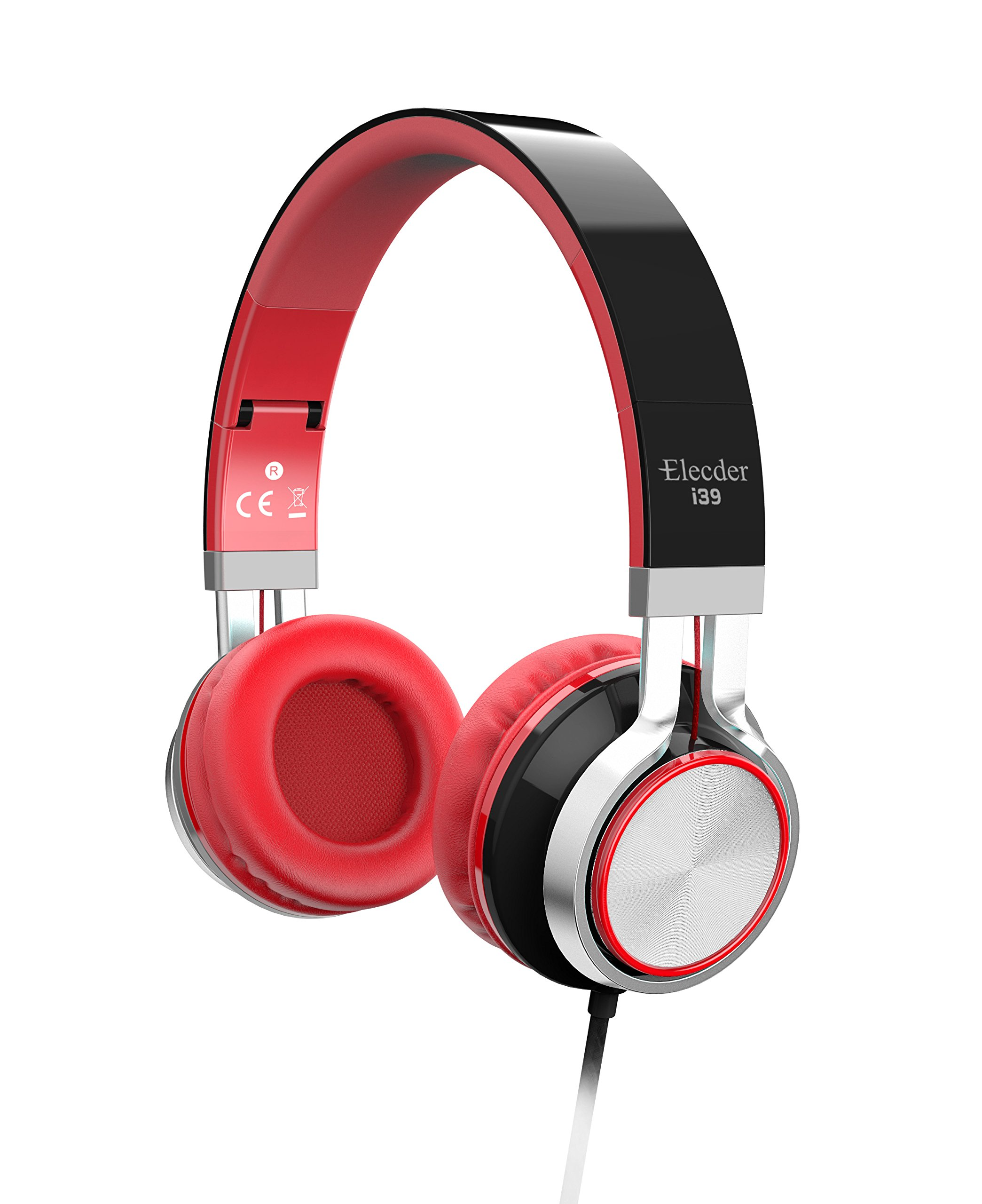 Elecder i39 Headphones with Microphone for Kids, Children, Girls, Boys, Teens, Adults, Foldable Adjustable Wired On Ear Headsets for iPad Cellphones Computer MP3/4 (Black/Red)