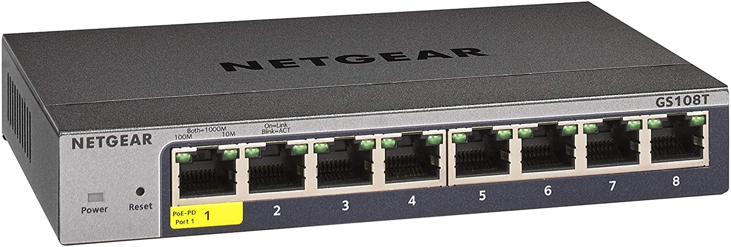 NETGEAR 8-Port Gigabit Ethernet Smart Managed Pro Switch (GS108T) - Desktop