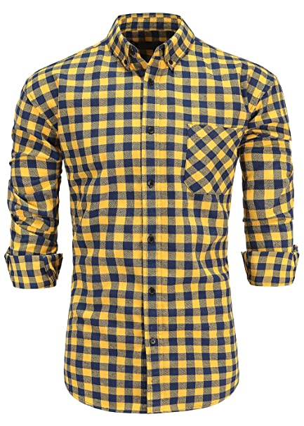 19bcdbb014 KateSui Men s Regular-Fit Long-Sleeve Button-Down Flannel Plaid Shirt Small  Navy