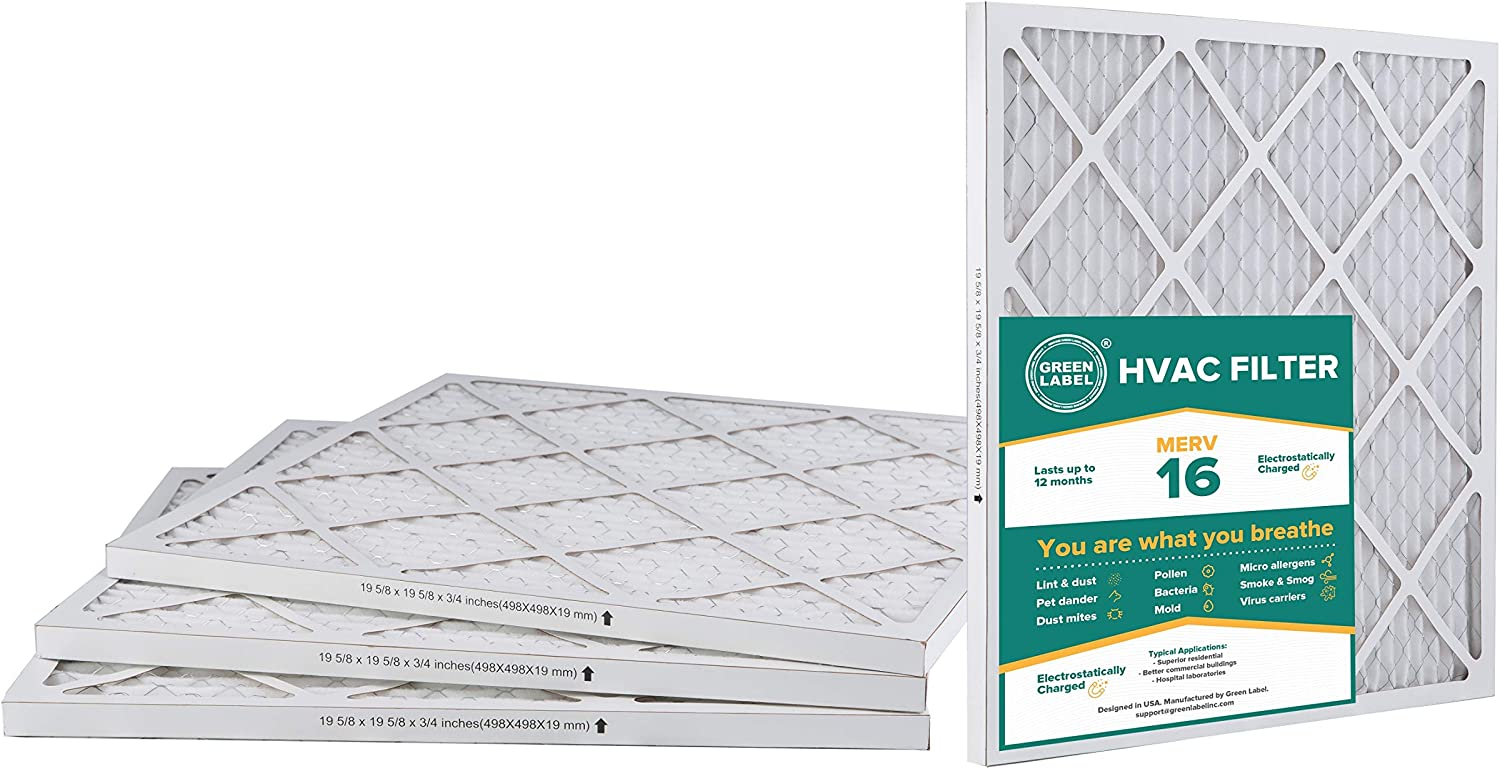 Pack of 2 AC Furnace Air Ultra Cleaning Filter MERV 16 Green Label HVAC Air Filter 20x20x1