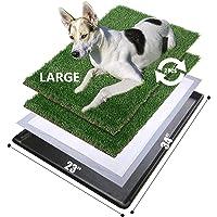 MEEXPAWS - Caja de arena para perro grande con bandeja | 86 x 58 cm | 2 juegos de repuesto de césped resistente…