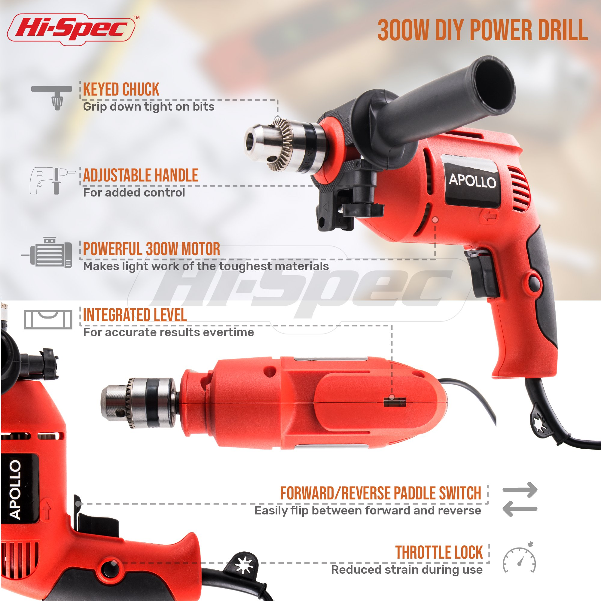 Hi-Spec Complete 130pc 110V 300W Hammer Power Drill & Hand Tool Set Combo Kit with Hacksaw, Pliers, Claw-Hammer, Wrench, Box Cutter, Hex Keys, Screwdrivers, Socket and Driver Bits, Voltage Tester Case by Hi-Spec (Image #3)