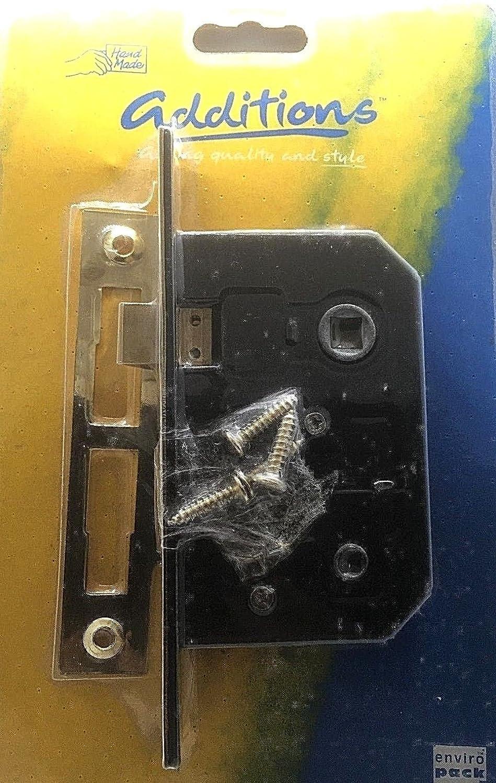 Mortice Bathroom Door Lock 2½ ' / 64mm Bolt Through 2 Lever Brass Plated (1) swish