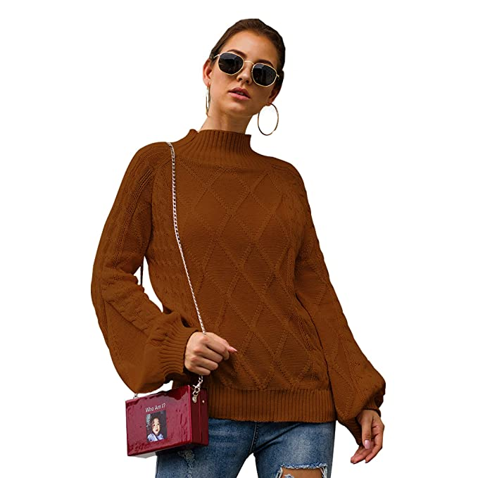 Loose Womens Turtleneck Top Sweater Knitwear Blend Pullover Long Zsell
