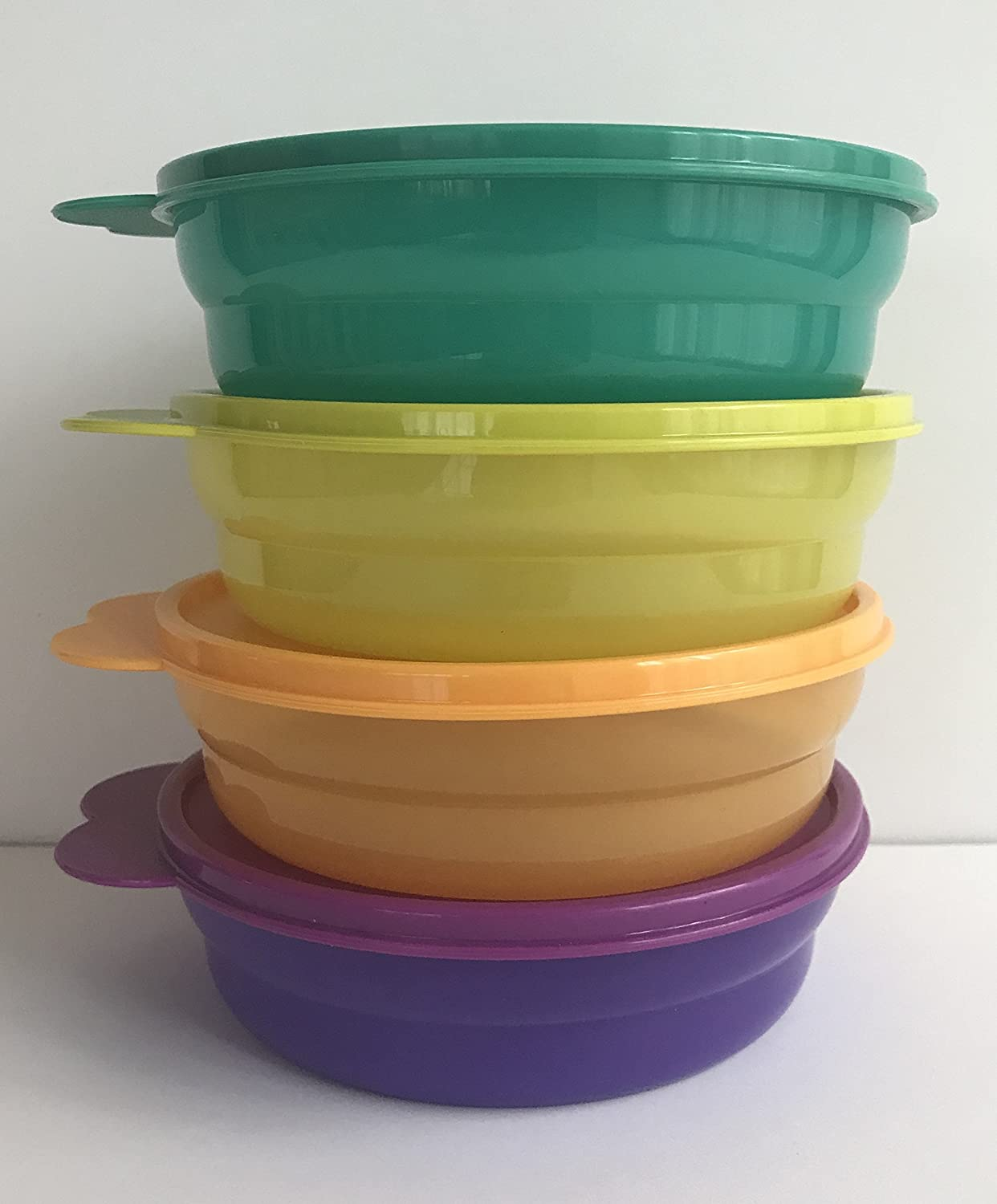 New Tupperware Microwaveable Cereal Soup Bowls With Air Tight Spill Proof Lids, 4 Colors
