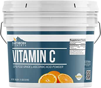 Vitamin C Powder (L-Ascorbic Acid) (1 Gallon (8 lb.)) by Earthborn Elements, Resealable Bucket, Antioxidant, Boost Immune System, DIY Skin Care, Satisfaction Guaranteed