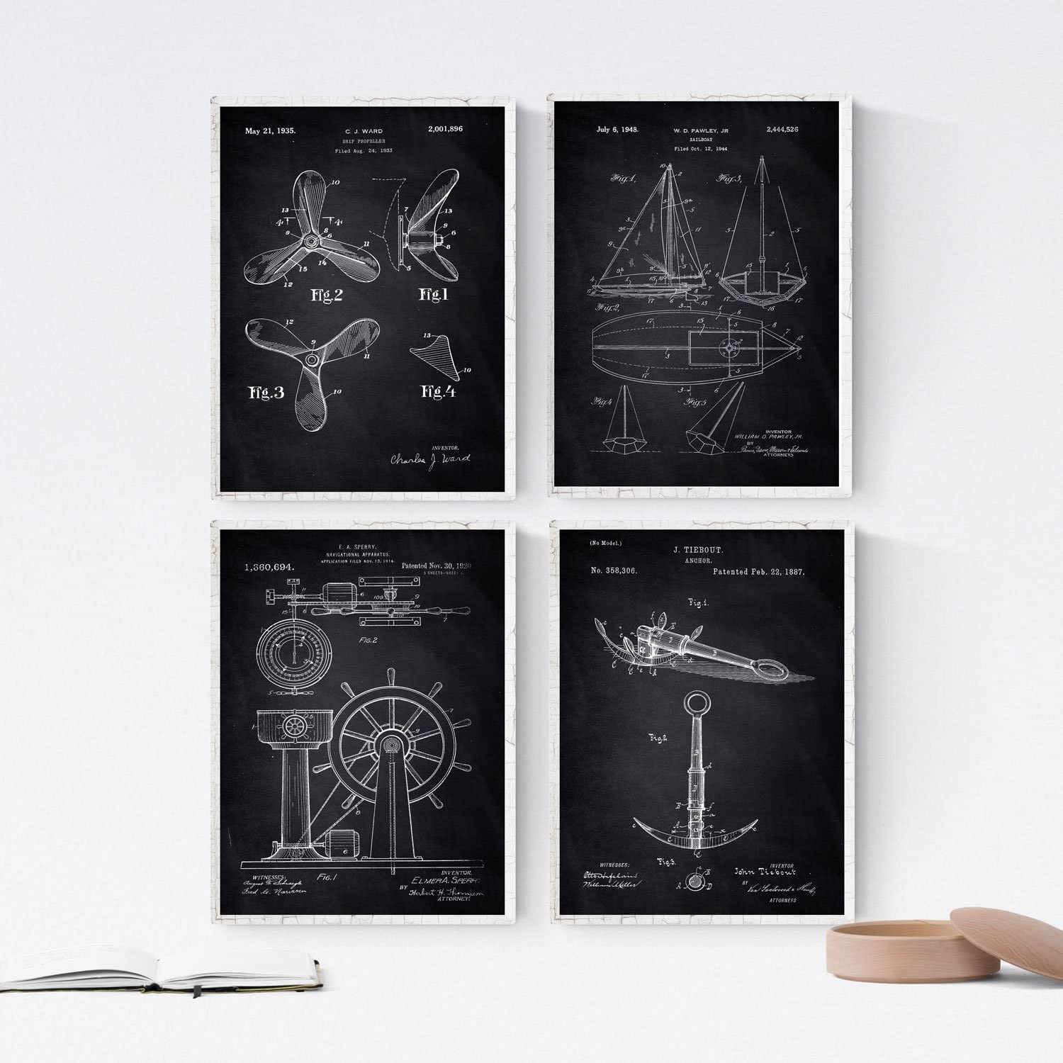 Nacnic Prints Vintage Inventions Patents Boats - Set of 4 - Unframed 8x11 inch Size - 250g Paper - Beautiful Poster Painting for Home Office Living Room
