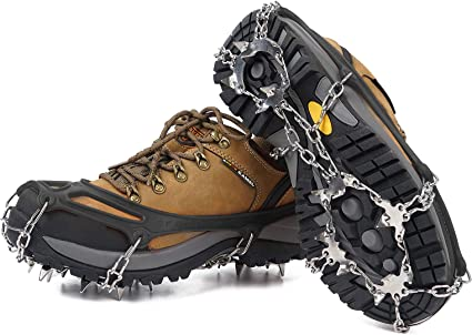 Merssavo Pair of Snow Ice Climbing Anti-Slip Silicone Shoe Covers Spikes Grips Crampons