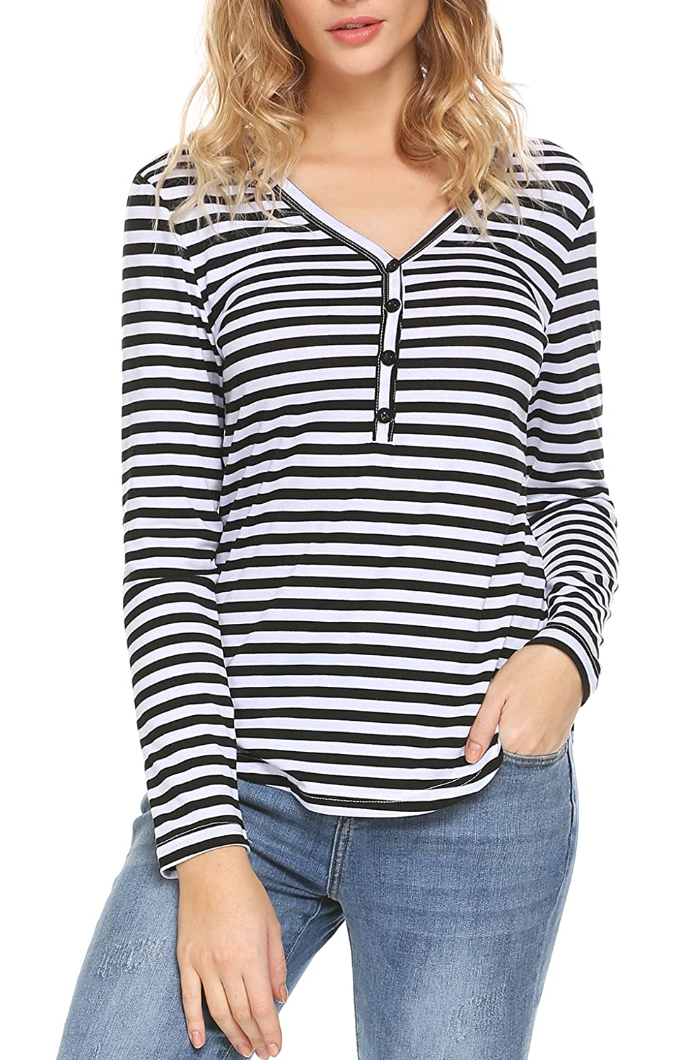 EASTHER Women V Neck Striped Henley Shirts Top Long Sleeve Tee Shirt Blouse with Button