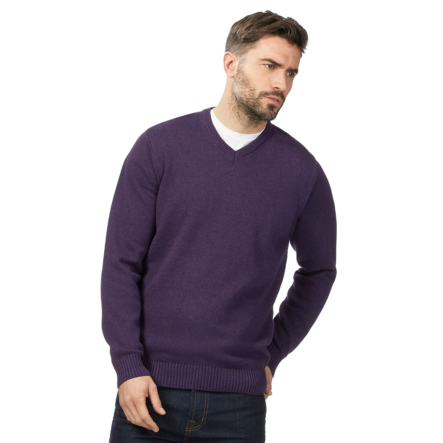 Maine New England Mens Big And Tall Purple V Neck Jumper
