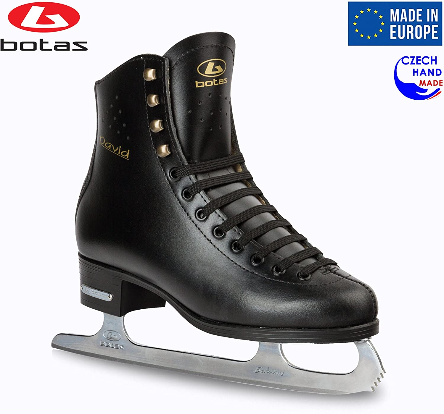 Botas – Model David Made in Europe Czech Republic Figure Ice Skates for Men, Boys Sabrina Blades Black Color