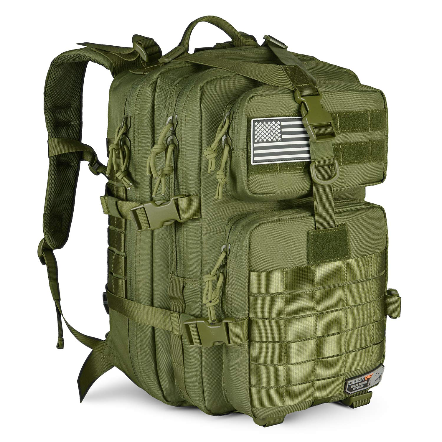 LeisonTac Tactical Back Pack Military ISO Standard for Hunting Hiking Travel & Camping   Heavy Duty Nylon Stitching Water Resistant Small Rucksack with Hydration Bladder Compartment (O.D.Green)