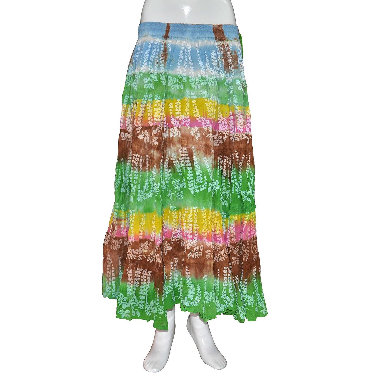 Handmade Cotton Lehariya Print, Elasticated Long String Skirt from India