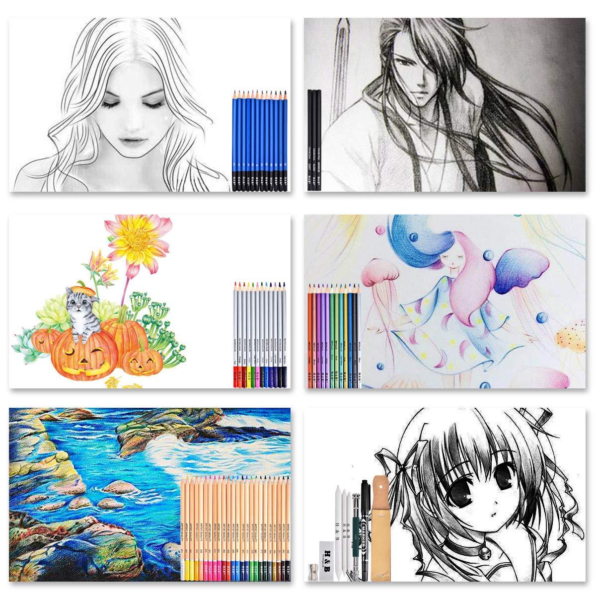 Principianti Cozywind 72 Pezzi Matite di Disegno Set Disegno e Matite Colorate Kit Ideale con Strumenti per Artisti Adulti e Bambini