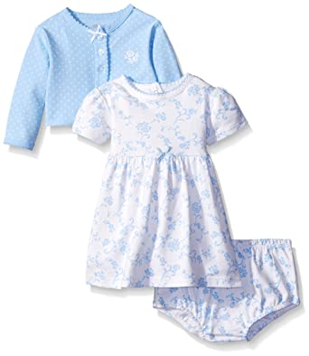 fc5b33d655c8 Little Me Baby Girls' Knit Dress with Cardigan, White/Light Blue 3 Months