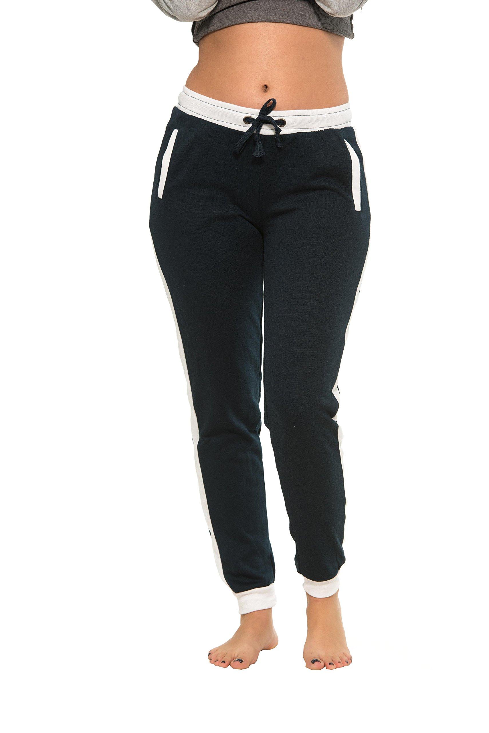 Coco-Limon Women Regular & Plus-Size Jogger Sweatpants , Long Slim Fit,2X,Navy