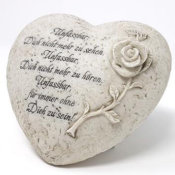 Herz Grabdekoration Mit Spruch Und Rose Unfassbar 15cm 1 Stuck