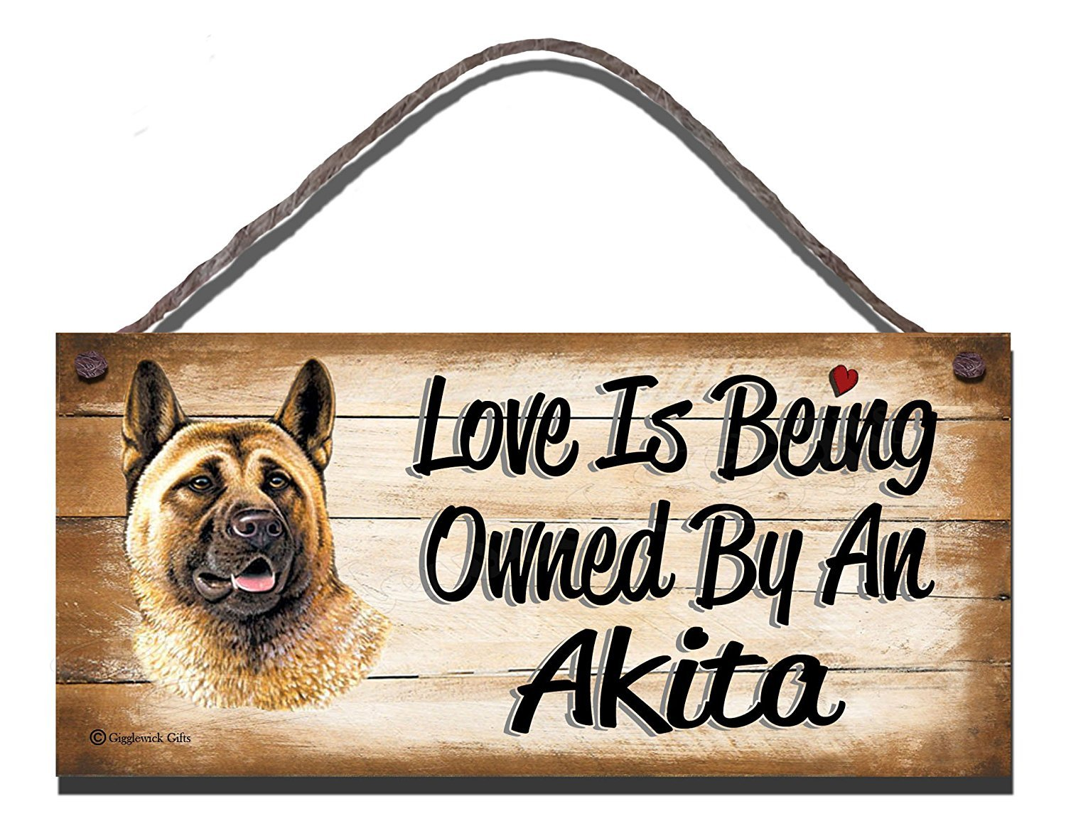 Gigglewick Gifts Akita Wooden Funny Sign Wall Plaque Gift Present Love is Being Owned by an Akita Dog 1