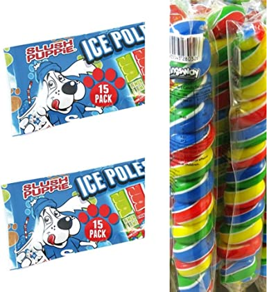 Slush Puppie Ice Poles 15 Pack x2 y Crazy Candy Rainbow Twist Lollipop x2: Amazon.es: Alimentación y bebidas