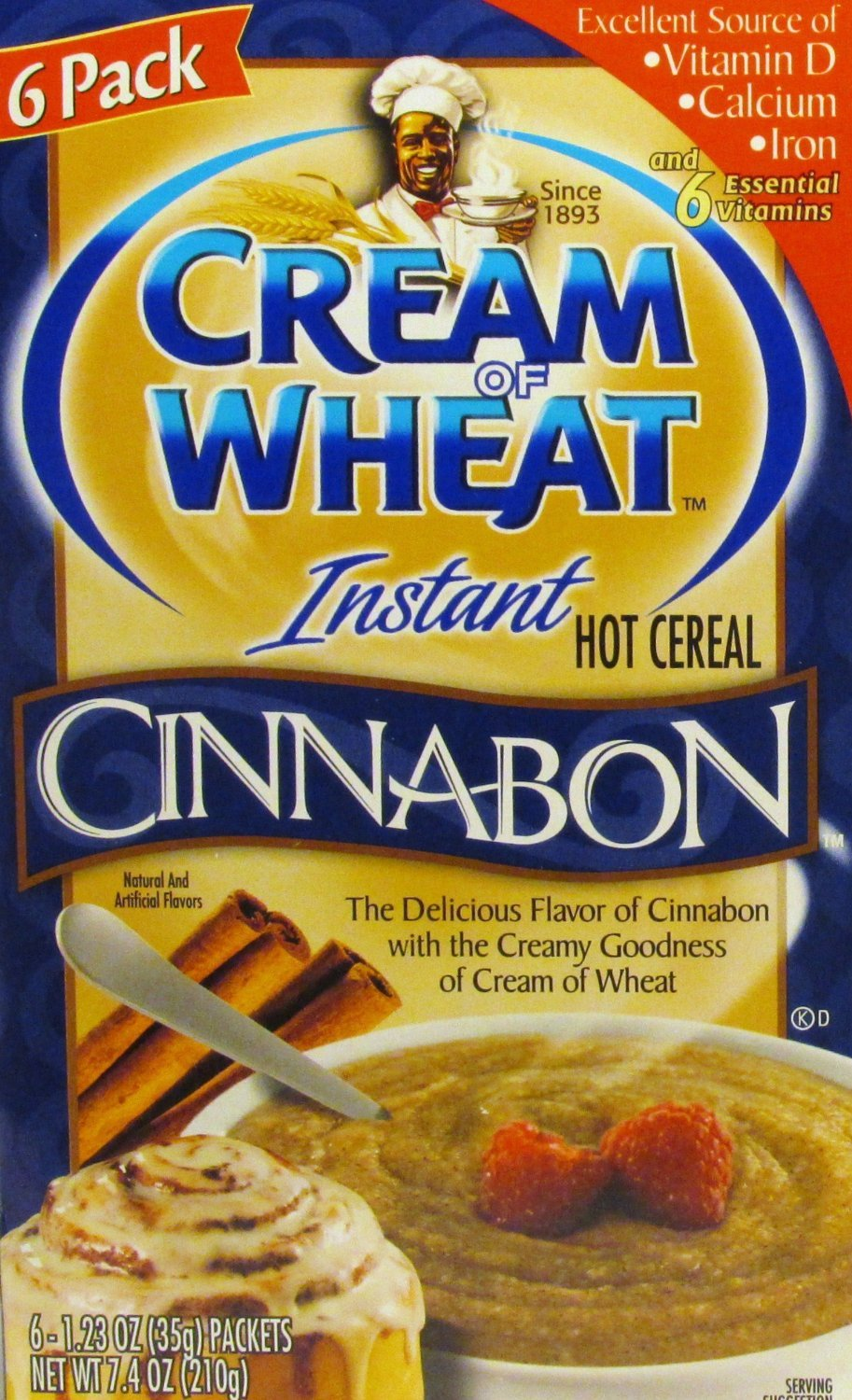 Cream Of Wheat Instant Cnnabon 6-1.23 Ounce Packets Per Box (Pack of 3 Boxes)