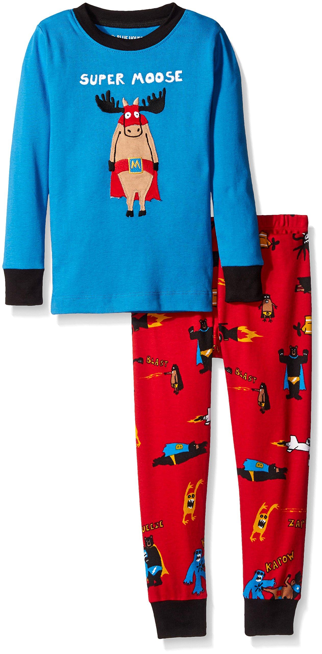 Little Blue House by Hatley Boys' Little Long Sleeve Appliqué Pajama Set, Super Moose, 8