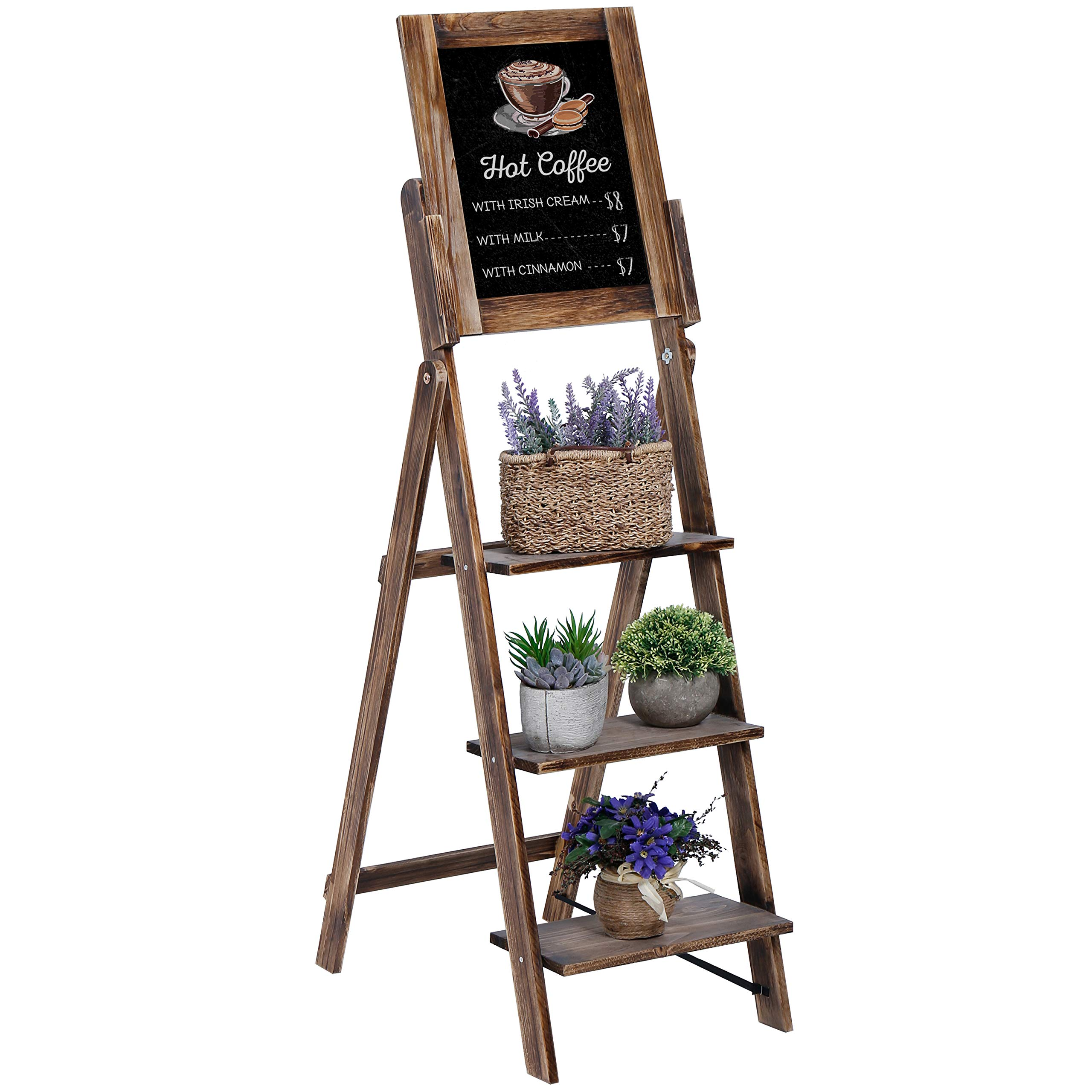MyGift 3-Tier Torched Wood Chalkboard Easel with Display Shelves