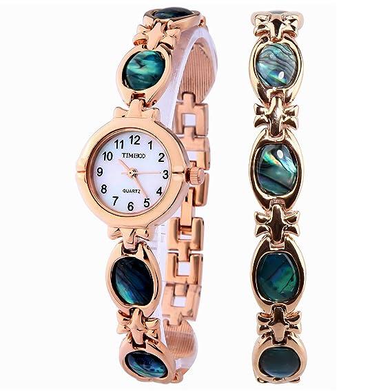 Time100 Reloj pulsera de joya concha para mujer, estilo de moda, correa de joyería de color oro rosa: Amazon.es: Relojes