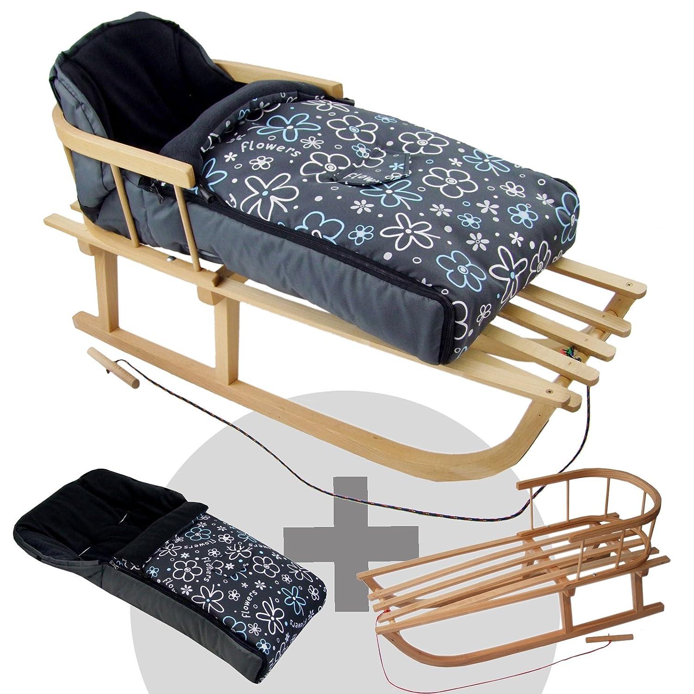 Rawstyle *Kombi-Paket* Holz-Schlitten mit R/ückenlehne /& Zugseil Fleece Kinderwagen auch geeignet f/ür Babyschale Buggy universaler Winterfu/ßsack 108cm