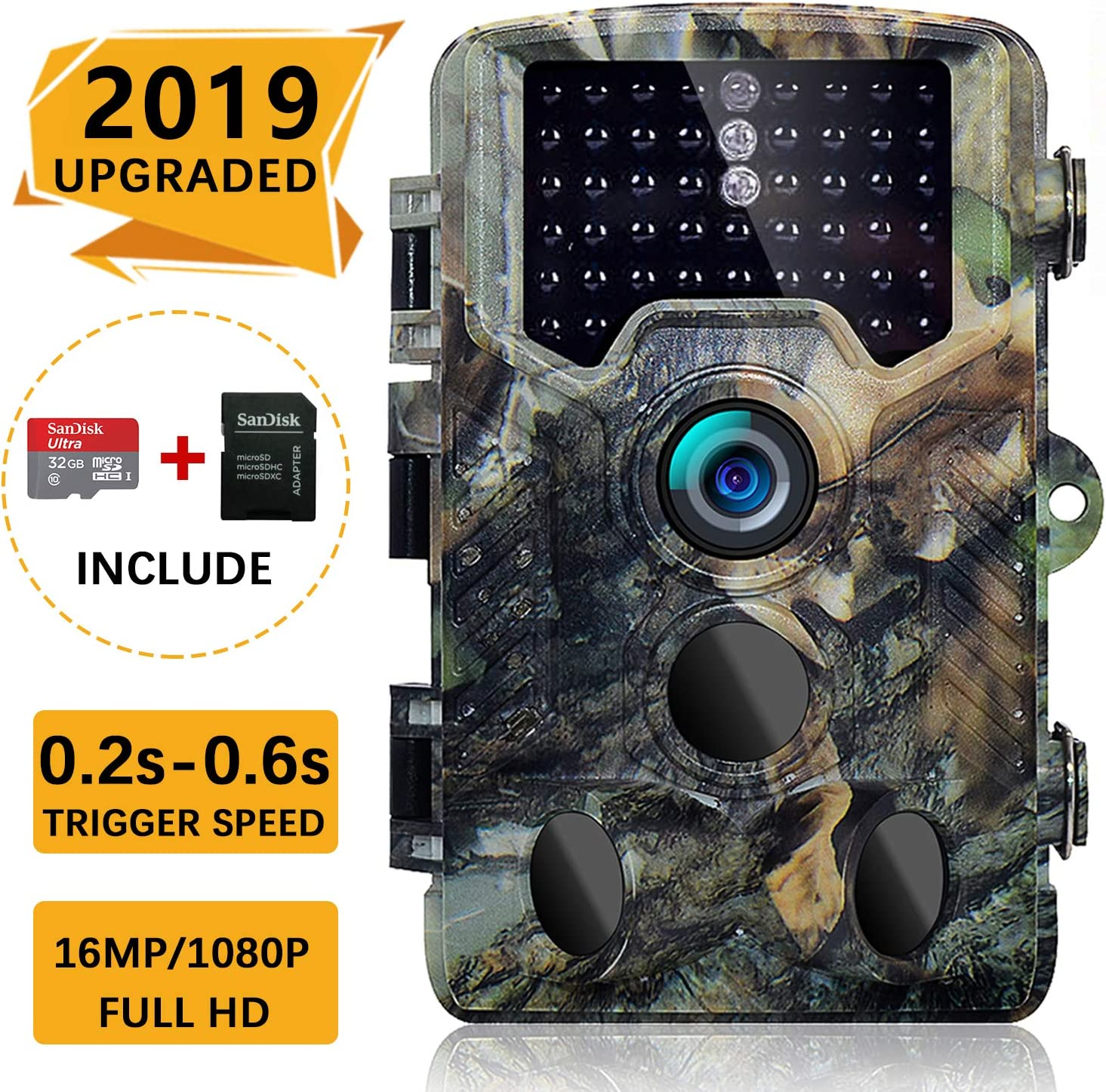 SOVACAM 2019 Upgraded Trail Camera, 16MP 1080P 2.4 LCD HD Deer Hunting Camera with 46pcs 850nm Low-Glow IR LEDs and 120 PIR Sensors,Up to 0.2s Trigger time,IP 56 Waterproof