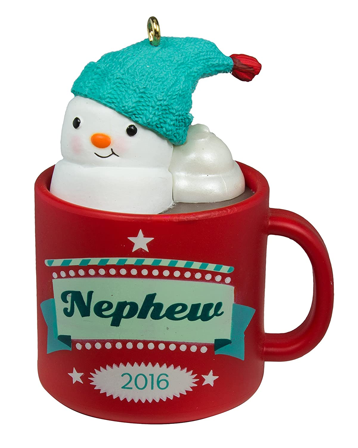 Hallmark Keepsake 2016 Nephew Hot Cocoa Mug and Marshmallow Snowman Ornament
