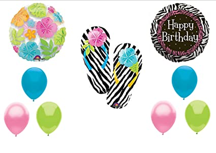 d69d3d62d Image Unavailable. Image not available for. Color  Zebra Flip Flop Luau  BIRTHDAY PARTY Balloons ...
