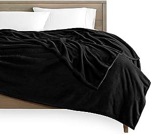 Bare Home Microplush Fleece Blanket - Full/Queen - Ultra-Soft Velvet - Luxurious Fuzzy Fleece Fur - Cozy Lightweight - Easy Care - All Season Premium Bed Blanket (Full/Queen, Black)