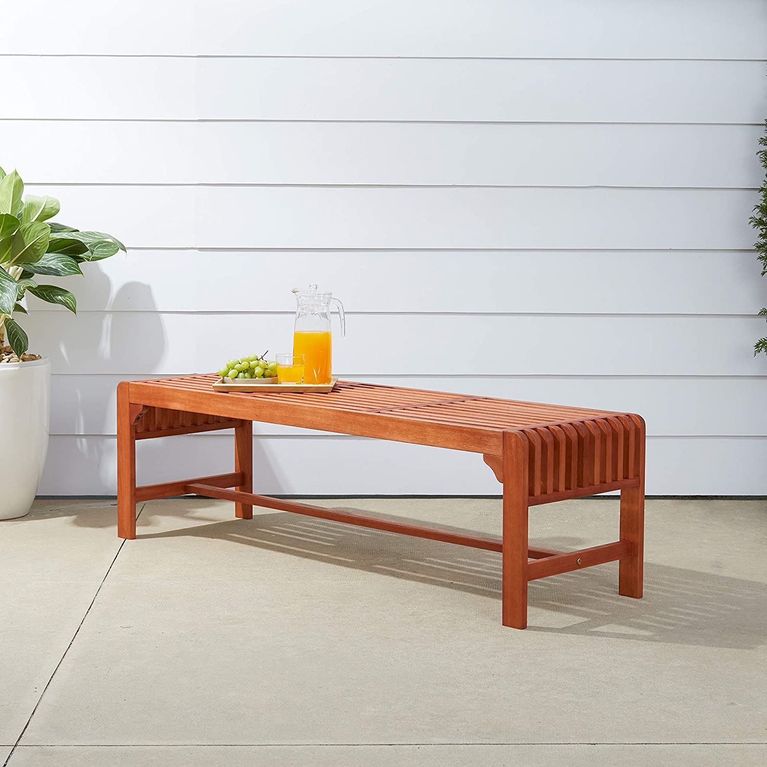 Vifah V1400 Malibu Red Brown 5Ft Rustic Eucalyptus Wooden Backless Bench for 3 Seater in Entry Way, Porch, Picnic, Garden, Patio, Backyard, Balcony, Spa, Dining, Outdoor Seating
