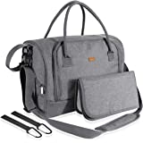 Lictin Baby Nappy Diaper Changing Bag - Stylish Nappy Handbag Nursing Bag with Changing Pad and Insulated Pocket Roomy Diaper Tote for Mom & Dad, with 2 Stroller Hooks (Grey) 40 * 30 * 23cm
