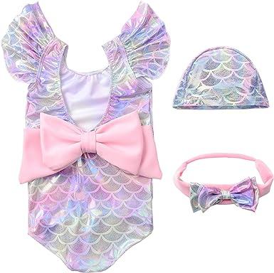 Lazylate Baby Girl One Piece Swimsuit Bathing Suit Fish Scale Mermaid Ruffle Sleeve Backless Beach Wear Swimwear