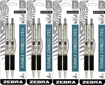 Zebra F-402 Ballpoint Retractable Pen Black Ink Fine 2//Pack 29212