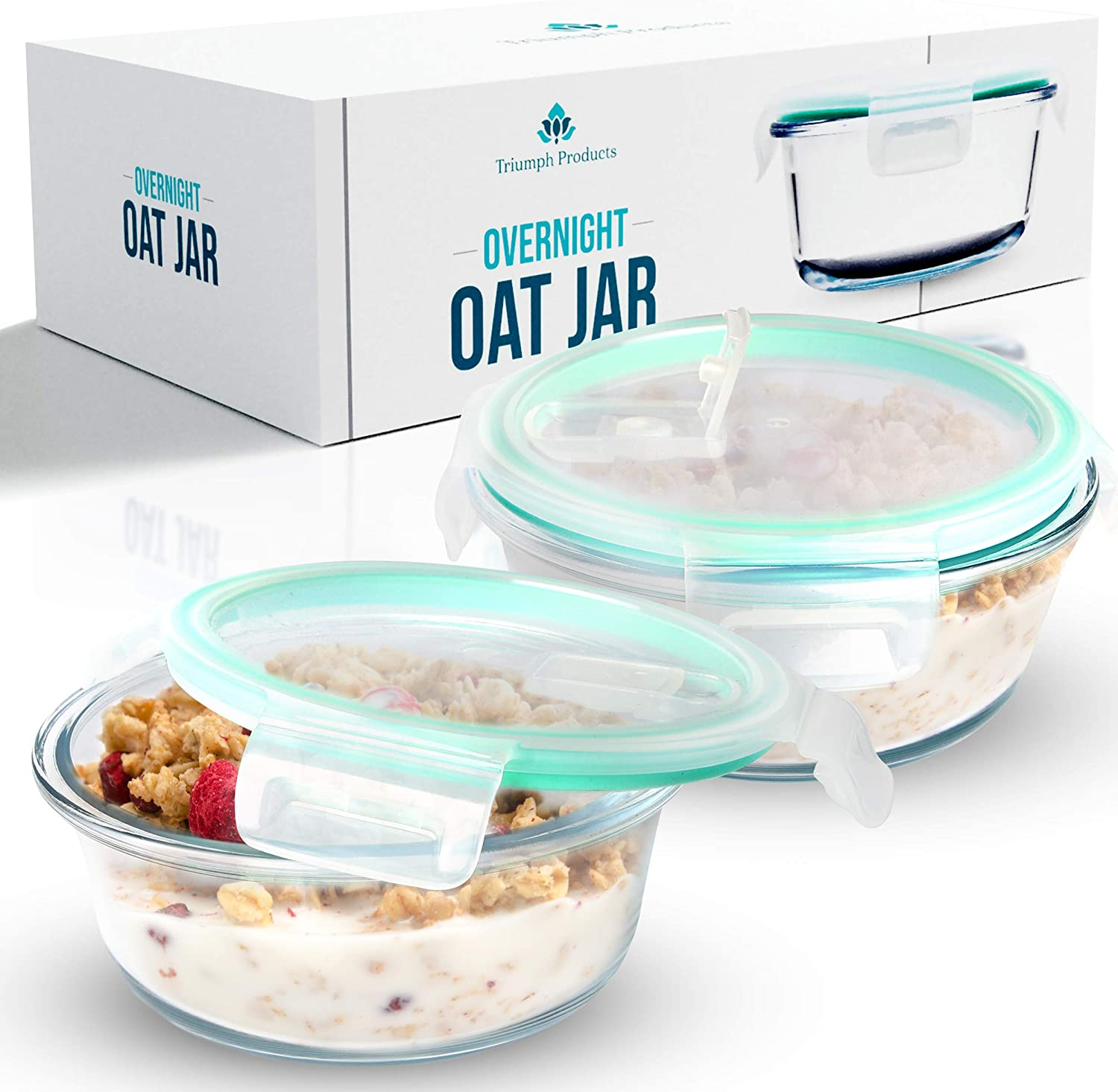 Overnight Oats Container Jar (2-Piece Set) - 18.5 oz Glass Containers with Lids   Meal Prep Breakfast Containers   Portable Cereal and Milk Container   Oatmeal Jar