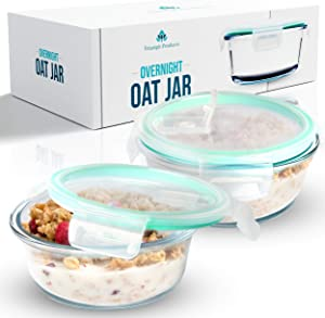 Overnight Oats Container Jar (2-Piece Set) - 18.5 oz Glass Containers with Lids | Meal Prep Breakfast Containers | Portable Cereal and Milk Container | Oatmeal Jar