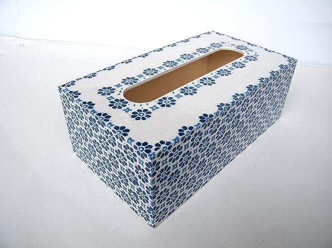 Kristan Art - Caja de pañuelos, porta toallitas faciales Caja de Madera para Pañuelos rectangular