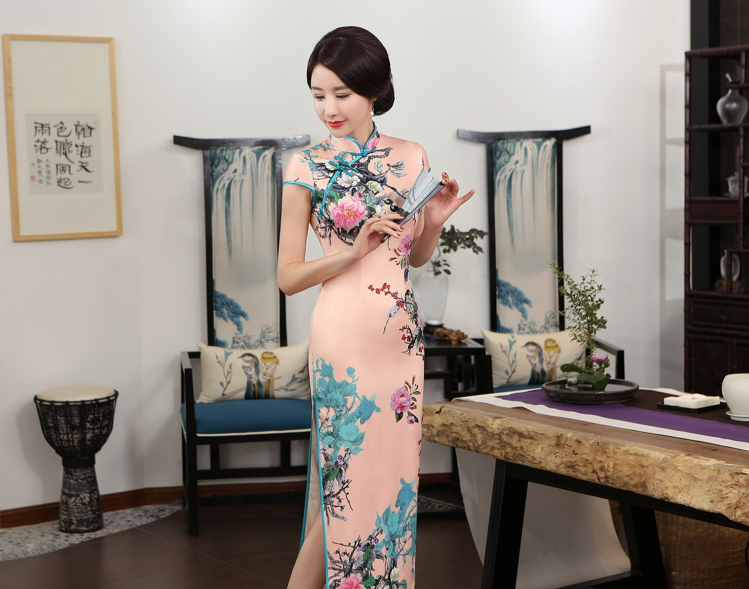 ACVIP Women Stand Collar Cap Sleeve Retro Chinese Floral Maxi Qipao Cheongsam (China 3XL/Bust:40.9'') by ACVIP (Image #9)