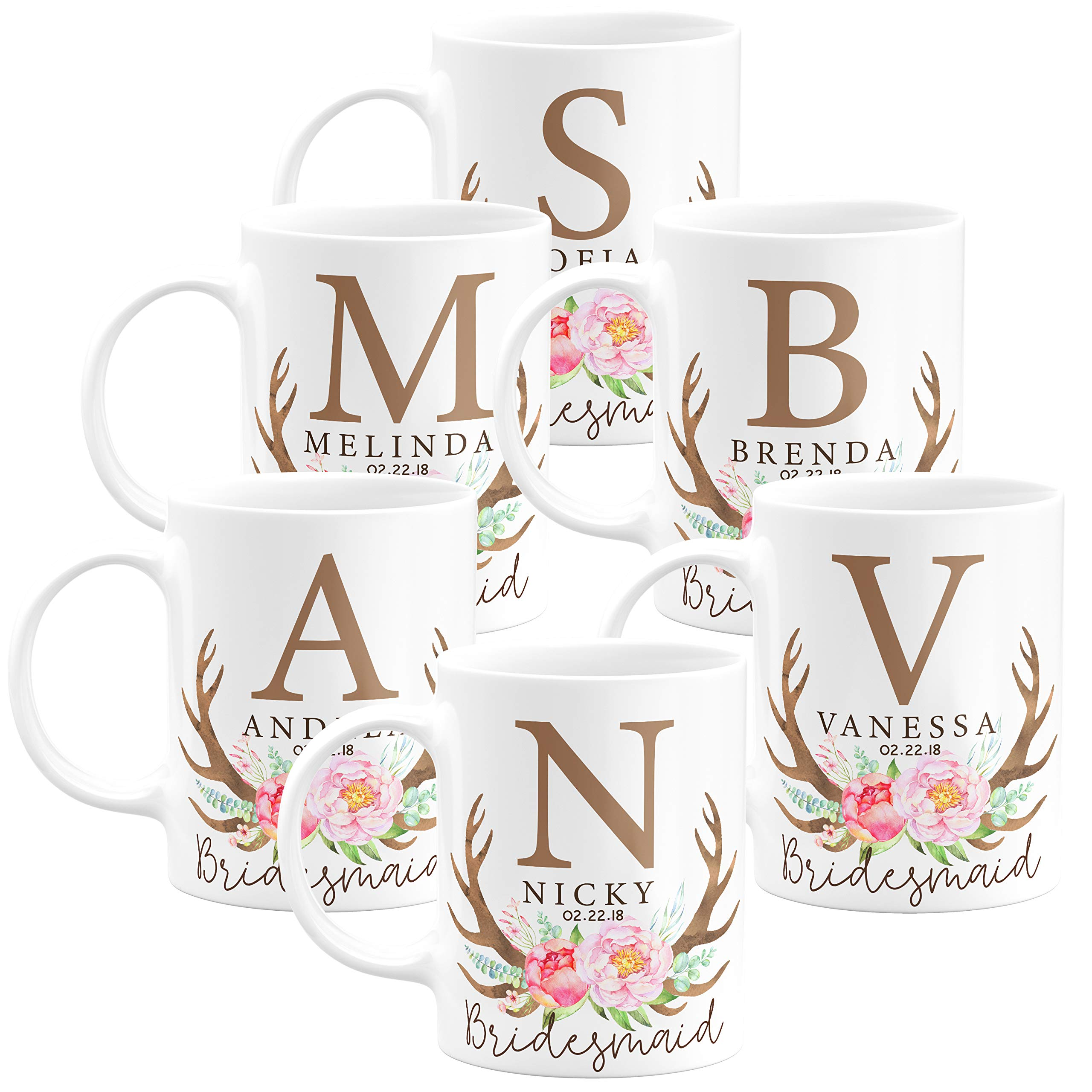 Personalized Bridesmaid Coffee Mug Gifts with Name and Title - 11oz - Wedding Favors,Party Favors, Bridesmaid Gifts, Housewarming Gifts - Design 5 - Set of 6