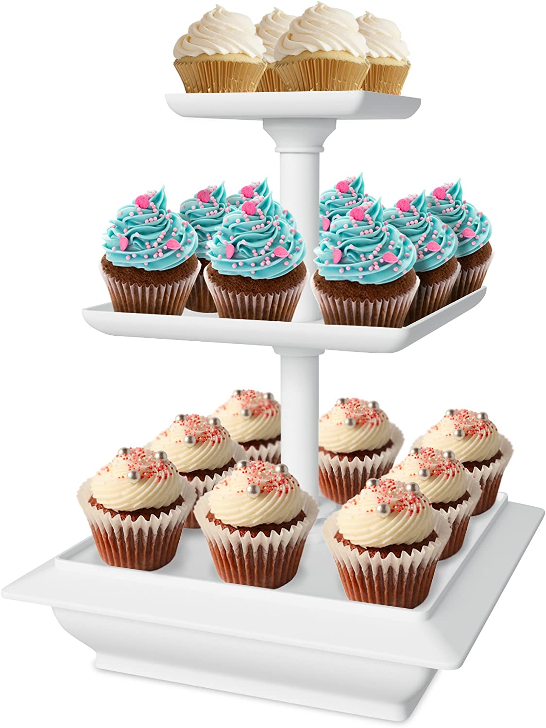 Chef Buddy 3-Tier Cupcake Dessert Stand, White