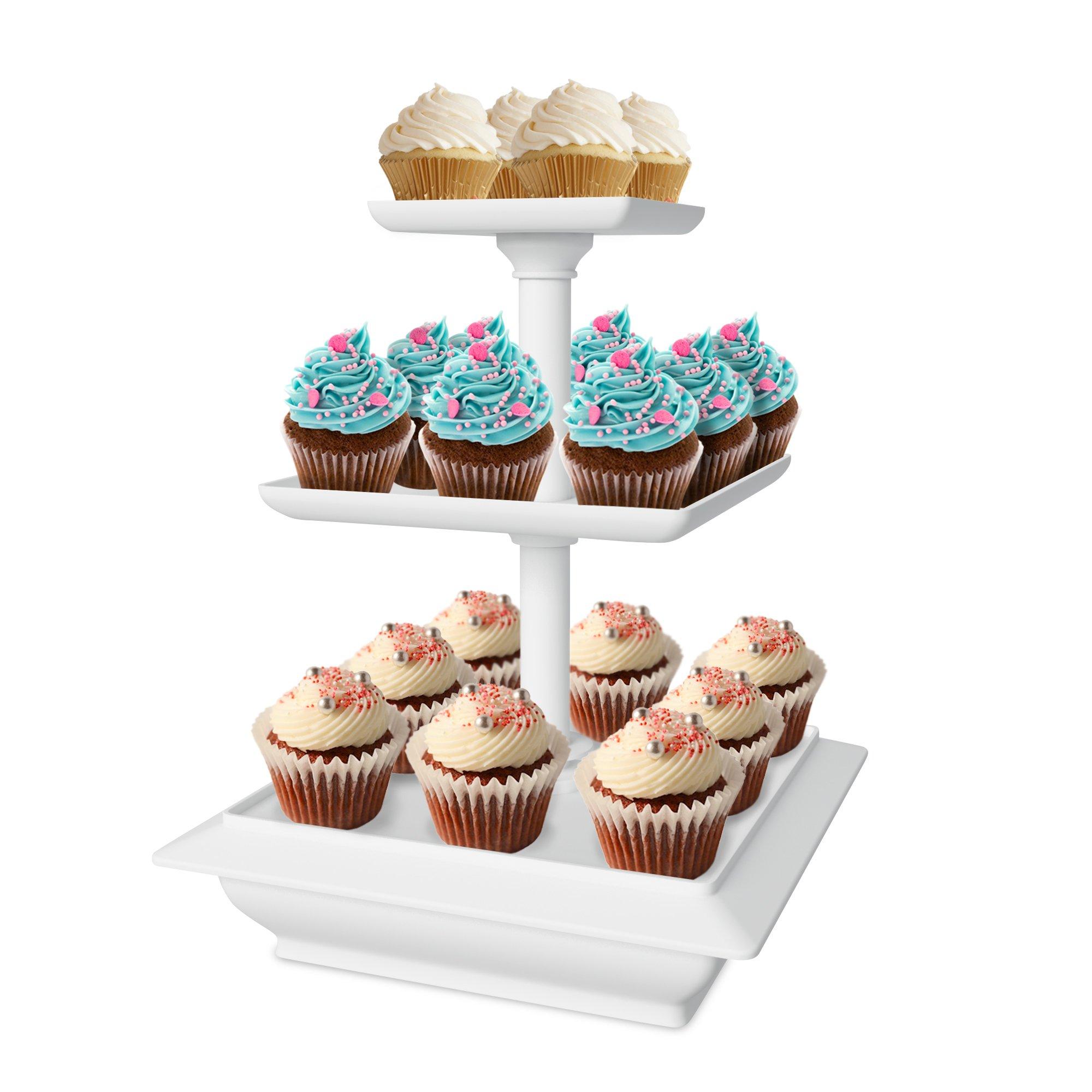Chef Buddy 3-Tier Cupcake Dessert Stand, White