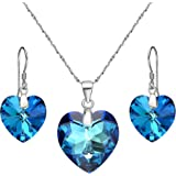 "EleQueen 925 Sterling Silver ""Heart of Ocean"" Bridal Necklace Earrings Set Adorned with Swarovski Crystals"