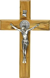 ChristianityWorld Holy Land Handmade St. Saint Benedict Wall Wood Cross Crucifix Silver Plated