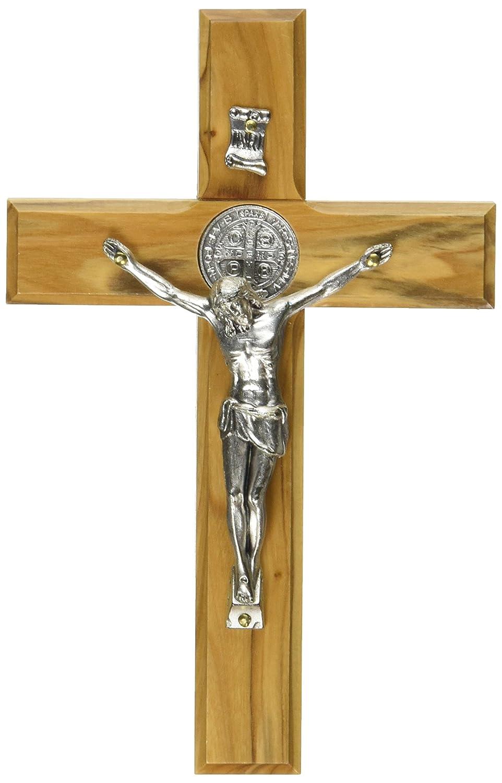Holy Land main Saint-Benoît Saint mur en bois Croix Crucifix Plaqué Argent 15cm LeMondeChrétien 6153