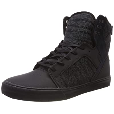 Supra Footwear - Skytop High Top Skate Shoes, Black/Dark Grey-Black, 11 M US Women/9.5 M US Men: Clothing