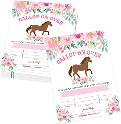 personalised photo paper card birthday party invites invitations COWBOY HORSE